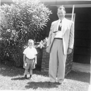Fred and Robert Parrott outside the house, Easter 1954.